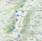 carte des sentiers des poètes en Alsace