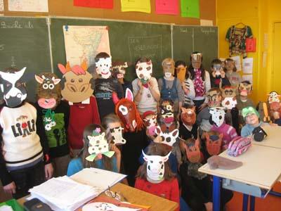 Masques par CM1-CM2 Quartier Ouest de Sélestat